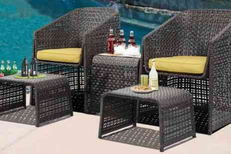Groupon Goods Global GmbH - Five Piece Rattan Effect Garden Furniture Set With Free Delivery - Save 72%