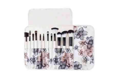 Groupon Goods Global GmbH - 12 Piece Professional Make Up Brush Set with Floral Pouch - Save 64%