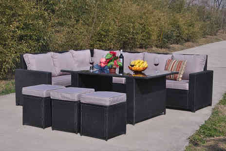 Dreams Living - Nine seater rattan dining sofa set select from three colours - Save 51%
