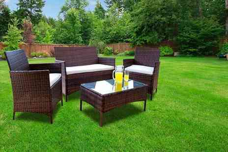 Giomani Designs - Four piece brown rattan garden furniture set with a limited number available - Save 85%