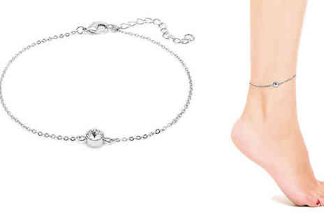 Lily Spencer - Swarovski Elements White Gold Plated Anklet - Save 80%