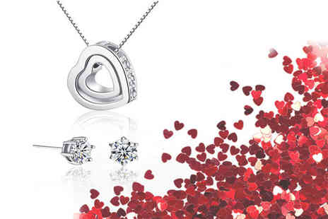 Your Ideal Gift - Double heart pendant necklace and earrings set made with crystals by Swarovski - Save 91%