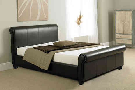 Giomani Designs - Tuscany faux leather sleigh bed frame, with a limited number available - Save 83%