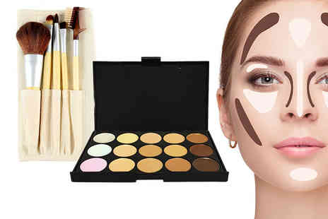 Forever Cosmetics - Contouring makeup palette and five piece bamboo brush set - Save 91%
