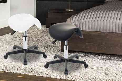 ViVo Technologies - Salon saddle beauty stool choose from black or white - Save 78%