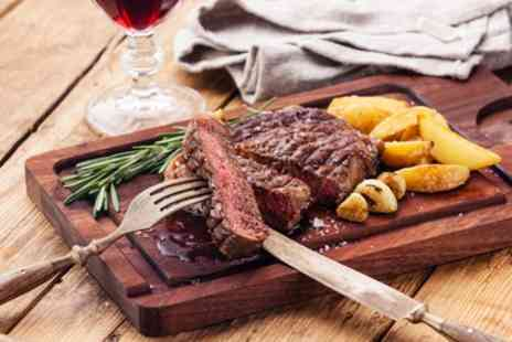 The Rock Hotel - Sirloin, Rib Eye or Chateaubriand Steak with Chips, Sides and Wine for Two - Save 40%