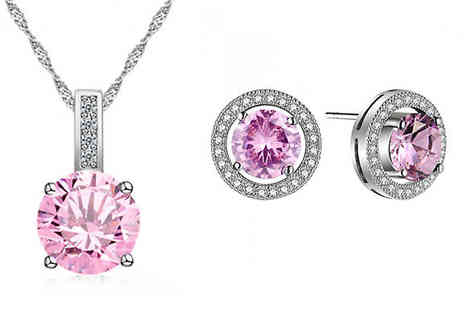 Your Ideal Gift - Brilliant Cut Pink Simulated Sapphire Earrings And Pendant Set Include Free Delivery - Save 94%