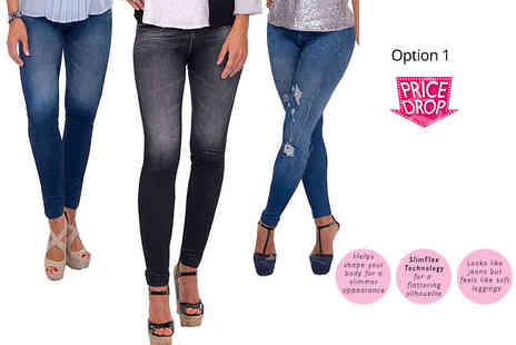 Eurotrade - Three pairs of Slim n Lift Caresse Fleece Lined Jean Style Leggings choose from two options - Save 86%