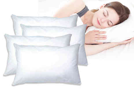 Love 2 Sleep - Four luxury super bounce back pillows and four pillow protectors - Save 81%