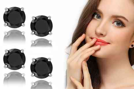 Groupon Goods Global GmbH - One or Two Pairs of Black Stud Earrings Made with Crystals from Swarovski - Save 75%