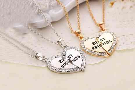Groupon Goods Global GmbH - One or Two Best Friend Heart Necklaces in Gold or Silver - Save 68%