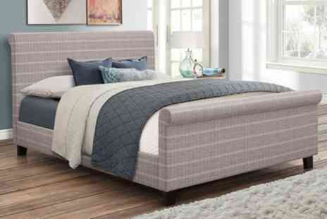 Groupon Goods Global GmbH - Hudson Grey Check Bed with Optional Mattress Include Free Delivery - Save 48%