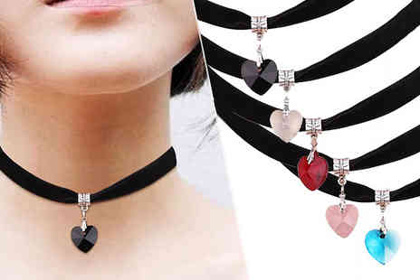 Jewleo - Crystal Charm Choker Necklace Available in Six Colours - Save 83%