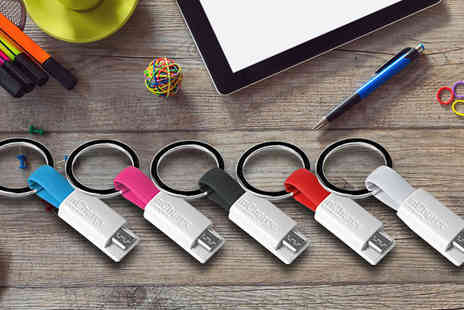 Flawlesssteel - 1, 2, 3 or 4 Android or iPhone Keyring Chargers Choose from Five Colours - Save 60%