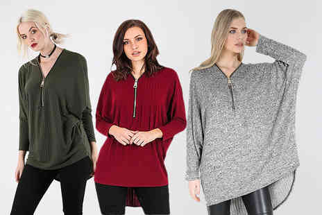 Be Jealous - Rib knit oversized zipper top choose from eleven colours - Save 62%