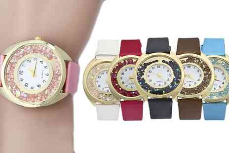 Groupon Goods Global GmbH - One or Two Lilly Floating Crystals Watches with Crystals from Swarovski - Save 73%