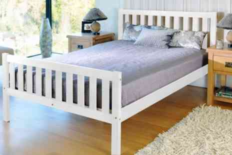 Groupon Goods Global GmbH - Solid Pine Bed Frame or with Mattress With Free Delivery - Save 77%