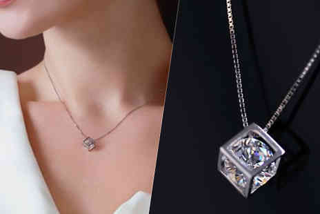 Jewleo - Silver Plated Cube Pendant With Rhinestone Centerpiece - Save 77%