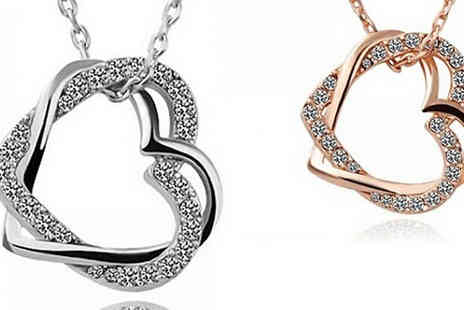 Jewleo - Heart Shaped Crystal Necklace Choose From Two Colours - Save 83%