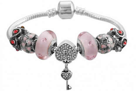 Jewleo - Pink Key To Your Heart Charm Bracelet Choose From Five Sizes - Save 75%