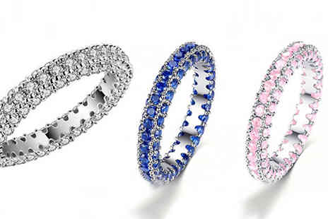 Your Ideal Gift - 3ct Simulated Sapphire Rhodium Plated Eternity Ring - Save 97%