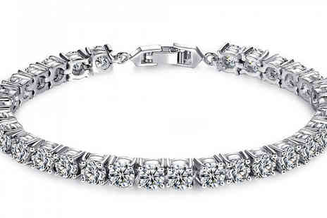 Your Ideal Gift - 7ct Brilliant Cut Simulated Sapphire Tennis Bracelet With Free Delivery - Save 92%