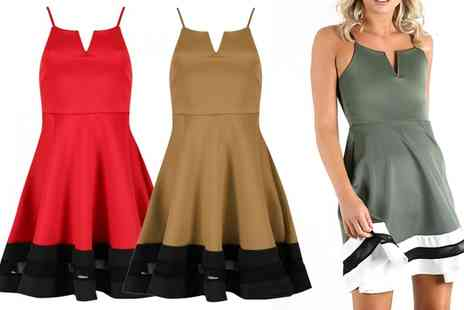 Groupon Goods Global GmbH - Strappy Mesh Insert Skater Dress in Choice of Size and Colour - Save 57%
