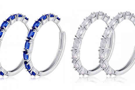 Your Ideal Gift - Simulated Sapphire Plated Earrings choose From Two Colours - Save 94%