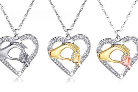 Your Ideal Gift - Mother and Child Hand Pendant Available in Three Colours - Save 90%