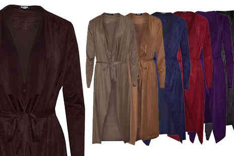 Verso Fashion - Faux Suede Draped Waterfall Jacket Available in Seven Colours - Save 75%