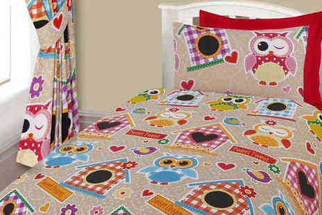 Myo Fashion - Owl Print Duvet Set Single or Double - Save 57%