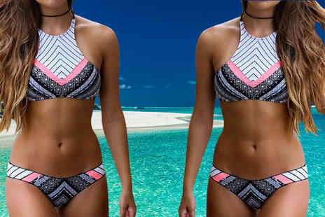 Bluebell Retail - High neck patterned bikini - Save 67%