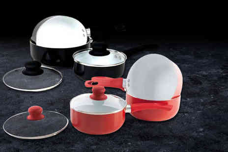 Eurotrade - Five piece ceramic saucepan set choose from black or red - Save 78%