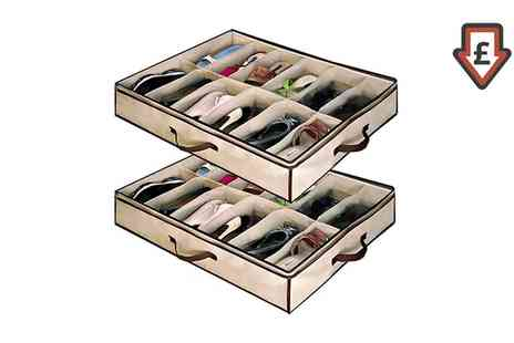 Groupon Goods Global GmbH - Two, Four, Six or Eight 12 Pair Under Bed Shoe Organisers - Save 75%
