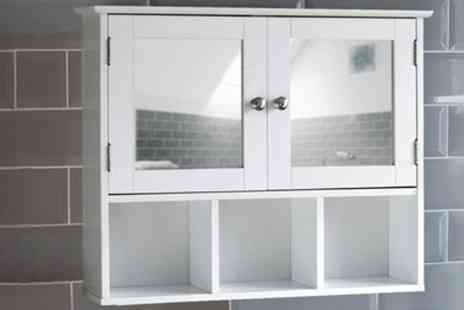 Groupon Goods Global GmbH - Bath Vida Milano Two Door Mirrored Wall Cabinet with Three Compartments One  or Two - Save 0%