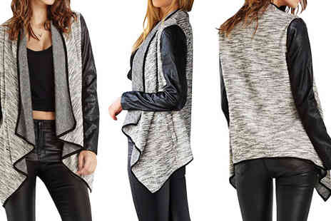 Bazaar me - Faux Leather Sleeve Waterfall Cardigan Available in Four Sizes - Save 78%