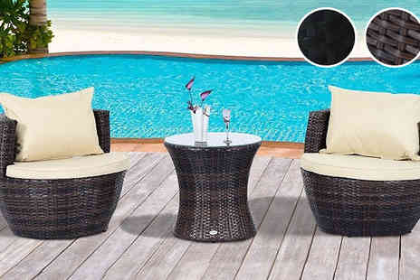 MHSTAR - Outsunny Three Piece Rattan Effect Vase Chair Set Brown or Black - Save 0%