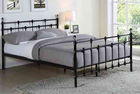 Groupon Goods Global GmbH - Metal Bedframe in Choice of Size and Colour with Mattress With Free Delivery - Save 58%