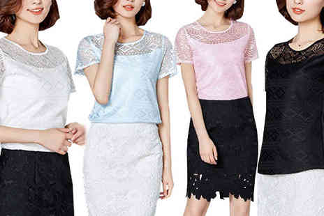 Richardson Group - Lace Chiffon Hollow Blouse in 4 Colours, 5 Sizes - Save 63%