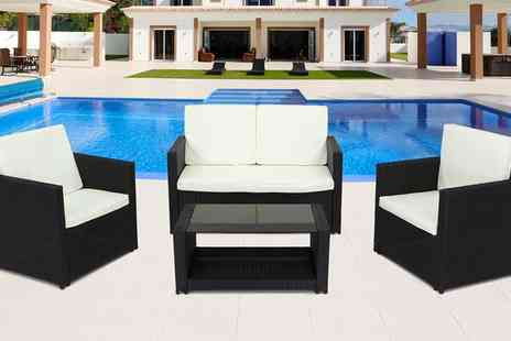 Groupon Goods Global GmbH - Miami Rattan Effect Lounge Set in Choice of Colour With Free Delivery - Save 35%