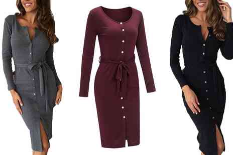 Groupon Goods Global GmbH - Belted Jersey Midi Dress - Save 0%