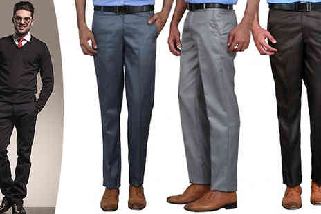 Hawt Online - Three Pack of Mens Formal Trousers in 4 Sizes, 3 Colour Options - Save 64%