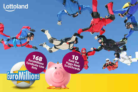 Lottoland - 168 EuroMillions syndicate line bets and 10 scratchcards - Save 73%