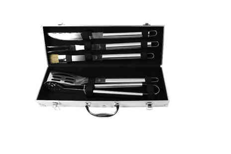 Who Needs Shops - Five piece stainless steel BBQ utensil set and aluminium carry case - Save 70%