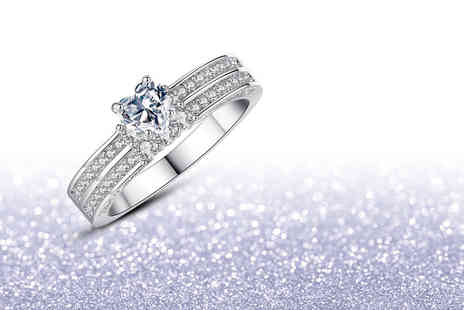 Your Ideal Gift - Clear crystal rhodium plated heart ring - Save 0%