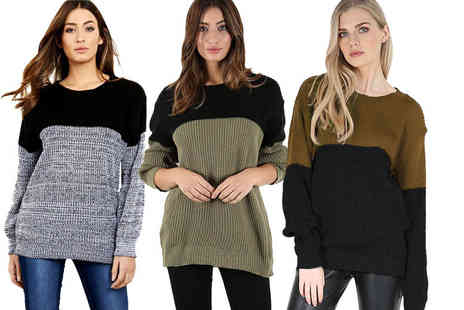 Be Jealous - An oversized block knit jumper - Save 66%