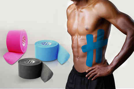 121 Mart - Five metre roll of kinesiology athletic tape choose black, pink or blue - Save 63%