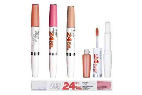 Groupon Goods Global GmbH - Two Pack of Maybelline Superstay 24 Hour Dual Ended Lip Gloss or Three Pack - Save 61%