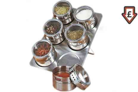 Groupon Goods Global GmbH - Six Jar Stainless Steel Magnetic Spice Rack - Save 68%