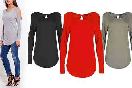 Groupon Goods Global GmbH - Cold Shoulder Keyhole Tops - Save 0%